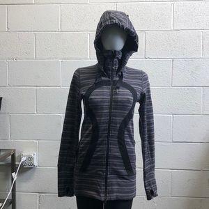 Lululemon gray & black jacket w/ hood sz 6 61492